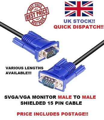 Svga/vga Monitor Cable Male To Male 15 Pin Fully Wired Uk Seller • 9.99£
