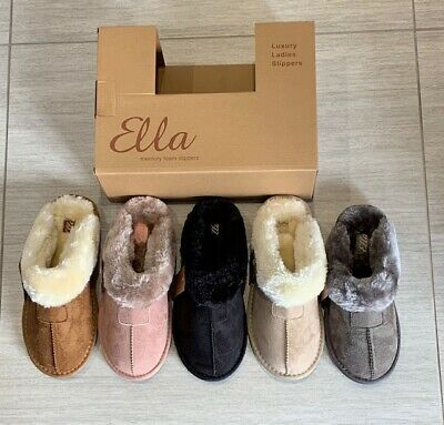 Ladies Ella Jill Faux Fur Lined Suedette Slippers Mules Comfy Memory Foam Vegan  • 15£