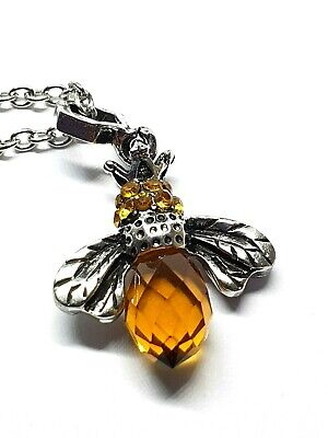 £6.95 • Buy Bee Pendant Amber Necklace Crown Amber Crystal Silver Plated 18  Chain Boxed