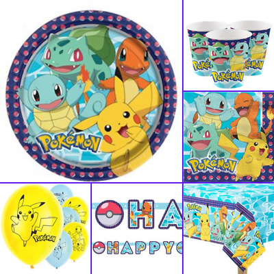 Pokemon Party Birthday Supplies Tableware Decorations And Balloons • 4.49£