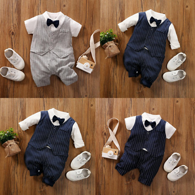 £9.99 • Buy Baby Boy Occasion Pinstripe Navy Grey Suit Bow Tie Christening Wedding Clothes