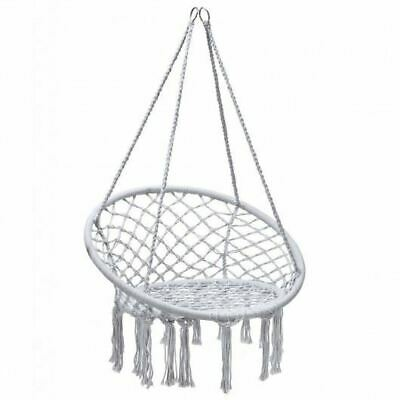 Durable Hanging White Macrame Hammock Chair W/Handwoven Cotton Backrest- • 61.37£