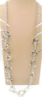 $ CDN18.58 • Buy Lia Sophia Long Silver Tone With Textured Geometric Shapes Necklace