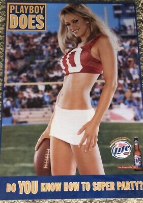 """$16.95 • Buy New Laminated Playboy Miller Light Beer Nfl Poster Hot Sexy 23"""" X 16"""""""