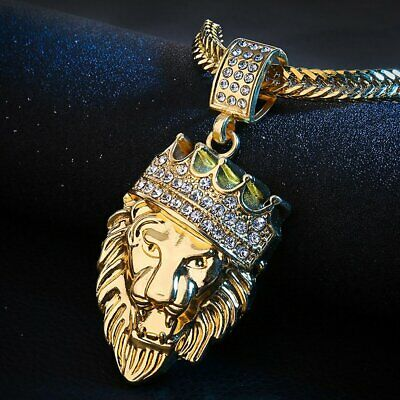 $8.88 • Buy Men's Stainless Steel Lion NECKLACE WITH 18  Chain Necklace In 18K Gold