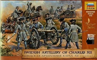 Zvezda 1/72 Swedish Artillery Of Charles Xiic (37 W/6 Horses & 5 Cannons) 8066 • 16.01£
