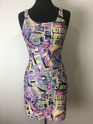 AU59.90 • Buy Y London Designer Vintage Grunge Look Pink Yellow Print Party Dress Size Medium