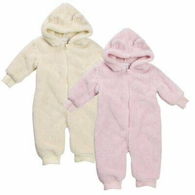 Baby Girls Snuggle Fleece All In One Sleepsuit Hooded Romper 1Onesie Babygrow • 7.99£