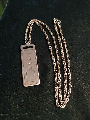 Sterling Silver Ingot Pendant And 24 Inch Rope Chain 925 • 32£
