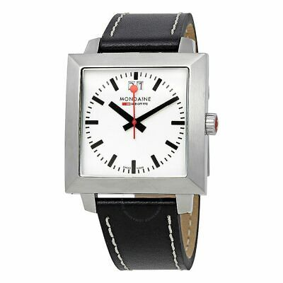 Mondaine Evo White Dial Watch With Black Leather Strap A685.30336.11SBB • 149.99£