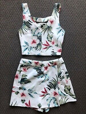 AU35 • Buy Womens Hollister White Floral Palm Tropical Set Crop Top Skort Summer Size XS/S
