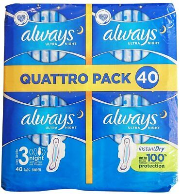£8.39 • Buy Always Ultra Night Sanitary Towels With Wings 40 Pads Ultra Thin Size 3