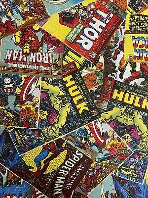 Marvel Avengers Superheroes  100% Cotton Fabric Material 50cm X 55cm • 4£