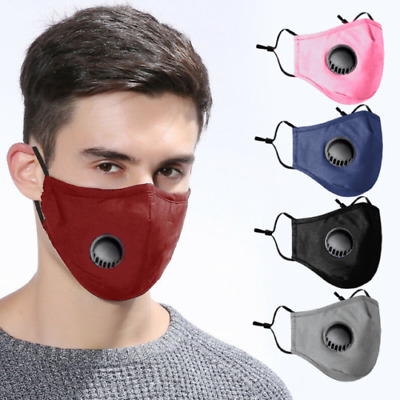 Face Mask Covering Washable Reusable Cotton 2 X PM 2.5 Filters One Vent/Valve UK • 3.95£