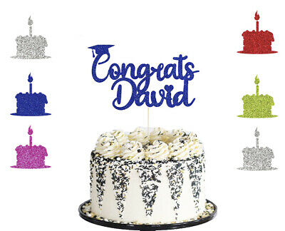 Personalised Glitter Graduation Cake Topper With Cap  Party Decoration- Any Name • 2.99£