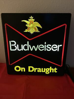 $ CDN65.10 • Buy BUDWEISER On Draught Lighted Beer Sign, Neon Look, VINTAGE 18x18