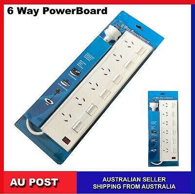 AU19.99 • Buy 6 Way Power Board With  With Individual Switches 6 Outlet 1m Cable