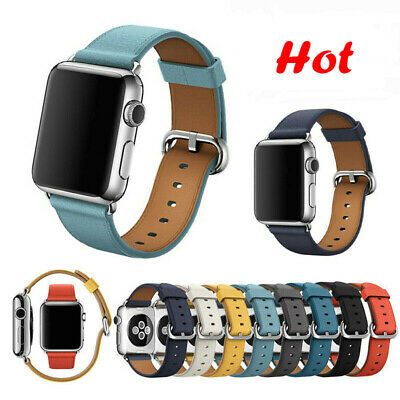 AU17.99 • Buy Genuine Leather Apple Watch Band Series SE 6 5 4 3 2 1 IWatch Strap 38/40 42/44