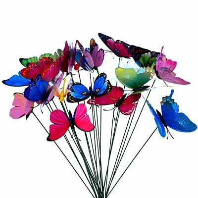 24 Pieces Colorful Garden Butterflies Dragonflies Patio Ornaments On Sticks For • 12.43£