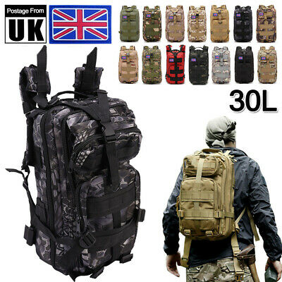 30L Army Backpack Rucksack Camping Hiking Military Tactical Trekking Bag Outdoor • 13.67£