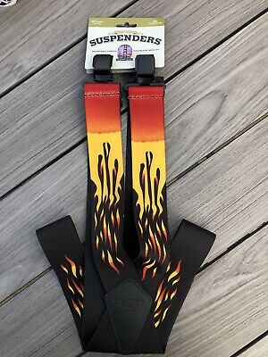 USA Work Trouser Braces / Suspenders 2  Heavy Duty One Size Fits All Flames • 12.99£