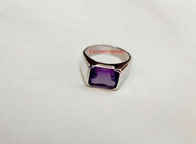 £50 • Buy Natural Amethyst Gemstone With 925 Sterling Silver Ring For Men's