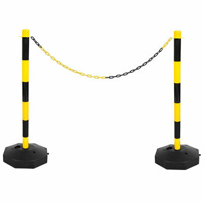 £29.99 • Buy Yellow & Black Safety Crowd Barrier Fence Post With Base Set & 5m Plastic Chain