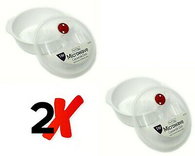 2 X 1L Microwave Food Bowl Microwavable Food Grade Plastic Container Vented Lid • 7.99£
