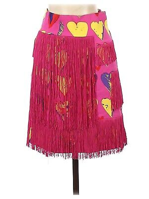 £36.36 • Buy 2011 VERSACE For H&M Pink Yellow Heart Print Fringe Skirt - US 4 MINT!