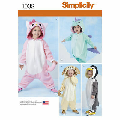 SIMPLICITY Sewing Patterns~1032 Childrens Toddlers Cat Dog Animal Costumes 1/2-4 • 8.85£