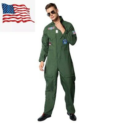 $25.99 • Buy Men Pilot Costume Aviator Fancy Dress Halloween Party Cosplay Outfit US Shipping