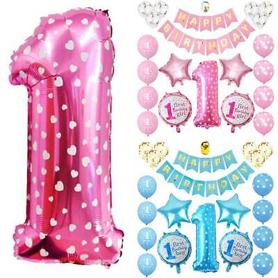 AU19.37 • Buy First 1st Birthday Ballons Number Baby Kid Boy Girl Balloon Party Decoration Set