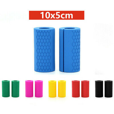 AU18.99 • Buy 1Pair FITS Thick Fat Barbell Silicone Grips Gym Arm Wrap Bar Dumbbell Weightlift