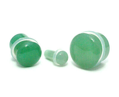 $8.99 • Buy Green Aventurine Single Flare Plugs With Clear O-ring (STN-689) Gauges PICK SIZE
