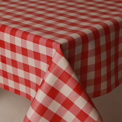 £8.65 • Buy  Plain Gingham Check Red White Pvc Plastic Wipe Clean Vinyl Table Cloth Cover