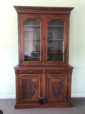 AU320 • Buy Antique Bookcase Cabinet With Classic Glass Display Cupboard