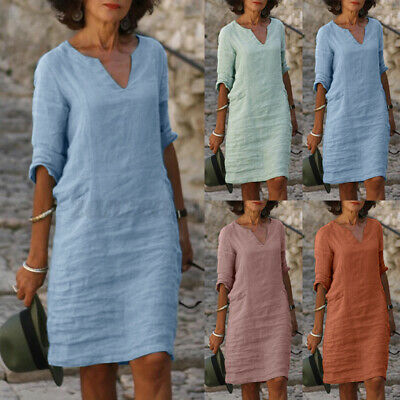 AU15.99 • Buy AU STOCK ZANZEA Women Summer Sundress Plain Solid Basic T-Shirt Dress Mini Dress
