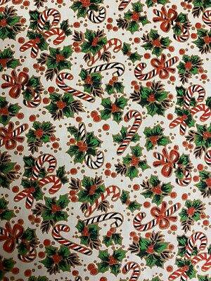 £4.50 • Buy Festive Christmas Holly &  Candy Canes 100% Cotton Fabric By HALF METRE X 112cm