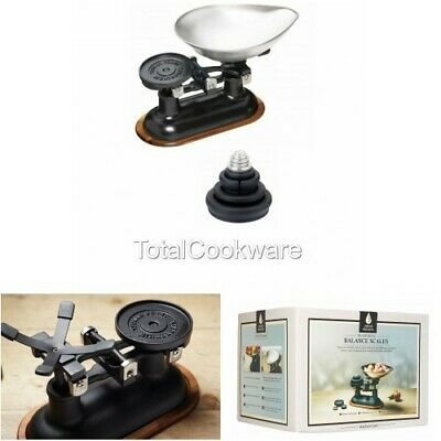 KitchenCraft Traditional Balance Scales Black  Wood Stand  Inc Metric Weights • 89£