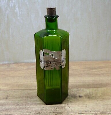 Vintage Green Glass Pharmacy Chemists Bottle • 6.99£