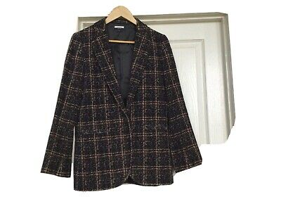Jaeger Jacket Black And Brown Checked Cotton  (velvet Feel) • 10£