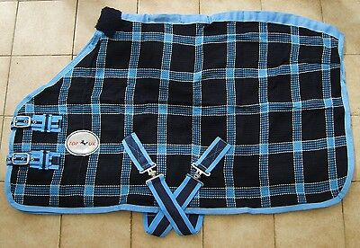 £23.50 • Buy MINI/ SHETLAND/ PONY BLUE CHECK WAFFLE RUG/ COOLER. 3'0  TO 4'6  By Top Horse Uk