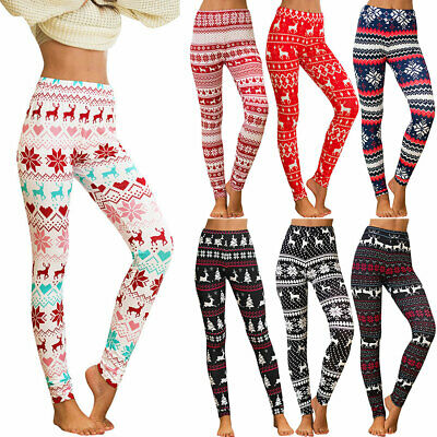 AU17.09 • Buy Womens Christmas Leggings Xmas Yoga Gym Sports Pants Ugly Loungewear Trousers