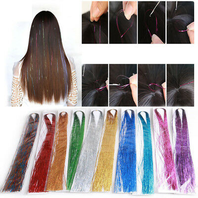 100 Strands Holographic Sparkle Woman Hair Glitter Tinsel Extensions Dazzles  • 2.10£