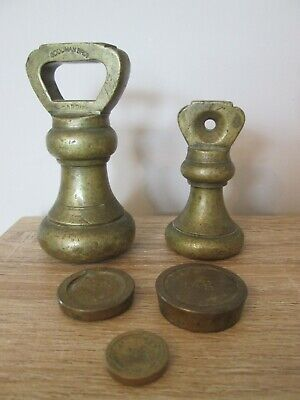 Set Of 2 Vintage Brass Imperial Bell & 3 Metric Flat Weights For Kitchen Scales • 19.99£