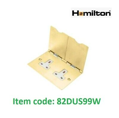 HAMILTON SHEER 82DUS99W Floor Double Socket 2 Gang 13amp Unswitched Satin Brass  • 28.50£