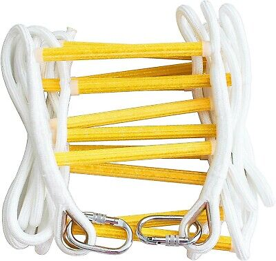 NEW - 2 Storey Emergency Fire Escape Rope Ladder 5m (16ft) With Carabiners • 60£