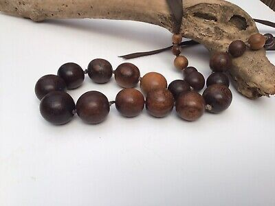 Boho Ethnic Brown Wood Bead Beaded Chunky Necklace • 6.99£