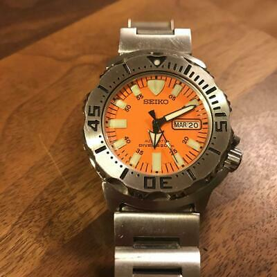 $ CDN681.03 • Buy Seiko 7S26-0350 Day Date Divers Orange Monster Automatic Mens Watch Auth Works