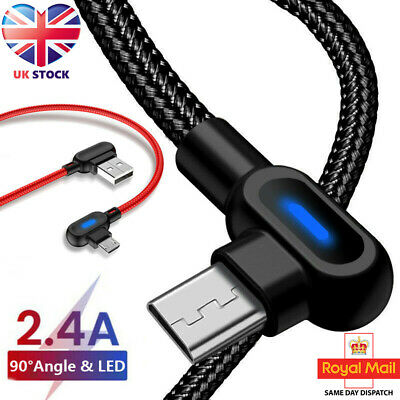 Fast Charger Type C USB Data Cable LED Lead For Samsung Galaxy S20, S10, S9, S8 • 2.99£